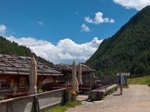 Tourism in the alps. Tecking to malga fane in italian tirol royalty free stock images