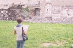 Tourism around Rome old town, Italy, marsala toned image. Stock Photos