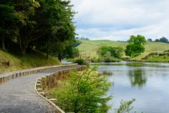 McLaren Falls Park, New Zealand. Idyllic landscape with bright green vegetation; a tourist attraction. royalty free stock image