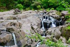 McLaren Falls Park, New Zealand. Beautiful waterfall among bright green vegetation; a tourist attraction. Tourism around the world; natural wonders; beautiful stock image