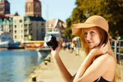 Beautiful elegant woman caught on taking pictures royalty free stock photos