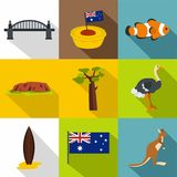 Tourism in Australia icon set, flat style Royalty Free Stock Photos