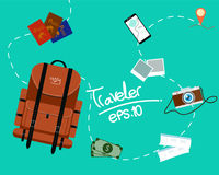Tourism of the backpack traveler with fast travel on a flat design style. Season relaxation Royalty Free Stock Photography