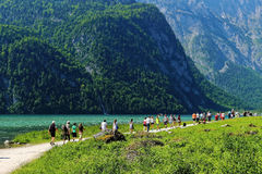 Tourism in Bavarian Alps at mountain lake Royalty Free Stock Photos