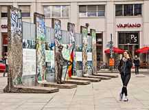 Tourism in Berlin - A piece of Historic Berlin wall Royalty Free Stock Photos