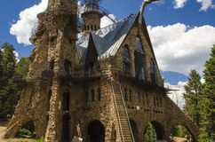 Tourism at Bishops Castle in Colorado. For nearly 60 years, this has been being built. Bishop castle is a monumental statue in stone and iron that cries loud Royalty Free Stock Images
