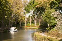 Tourism boat on the Canal du Midi Stock Photo