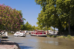 Tourism boat on the Canal du Midi Royalty Free Stock Photo