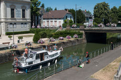 Tourism boat in the channel in Mulhouse stock image