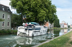 Tourism boat in the channel in Mulhouse stock images