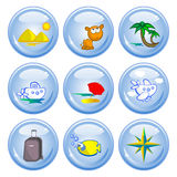 Tourism buttons. A set of buttons. Theme Travel in tropical countries. Comical images Stock Image