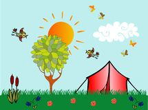 Tourism and camping. Beautiful card with camp, butterflies, birds, sun, tree and flowers Royalty Free Stock Photo