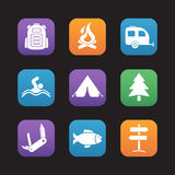 Tourism and camping flat design icons set Stock Image