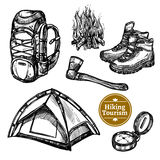 Tourism Camping Hiking Sketch Set vector illustration