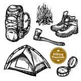 Tourism Camping Hiking Sketch Set Stock Images