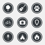 Tourism, camping icons. Fishing, fire and bike. Tourism, camping icons. Fishing, fire and bike signs. Guitar music, photo camera and paw with clutches. Circle Stock Photo