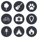 Tourism, camping icons. Fishing, fire and bike. Signs. Guitar music, photo camera and paw with clutches. Gray flat circle buttons. Vector Stock Photo
