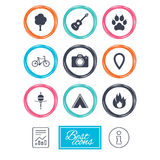 Tourism, camping icons. Fishing, fire and bike. Tourism, camping icons. Fishing, fire and bike signs. Guitar music, photo camera and paw with clutches. Report Stock Photography
