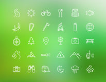 Tourism, camping linear icons set  on Stock Photography