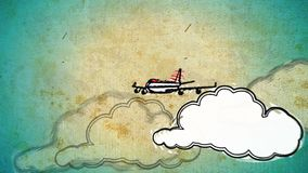 Tourism cartoon decorative footage. With airplane and clouds