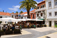 Tourism in Cascais. Touristic restaurant and bar area in Cascais, Portugal stock photo