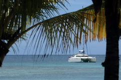 Tourism with catamaran in New Caledonia. Tourism with catamaran in lagoon of New Caledonia Royalty Free Stock Images