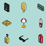 Tourism color outline isometric icons Royalty Free Stock Photos