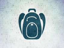Tourism concept: Backpack on Digital Data Paper background Stock Photo
