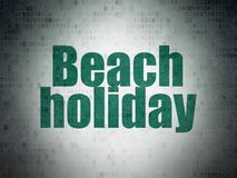 Tourism concept: Beach Holiday on Digital Data Paper background Stock Photo