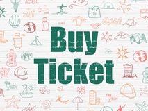 Tourism concept: Buy Ticket on wall background stock images