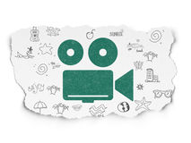 Tourism concept: Camera on Torn Paper background. Tourism concept: Painted green Camera icon on Torn Paper background with  Hand Drawn Vacation Icons, 3d render Stock Photo