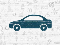 Tourism concept: Car on wall background. Tourism concept: Painted blue Car icon on White Brick wall background with  Hand Drawn Vacation Icons Royalty Free Stock Image