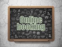 Tourism concept: Online Booking on School board background. Tourism concept: Chalk Green text Online Booking on School board background with  Hand Drawn Vacation Stock Image
