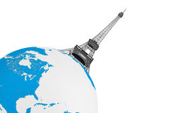 Tourism Concept. Eiffel Tower over Earth Globe Stock Photography