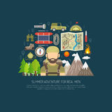 Tourism Concept Flat. Tourism concept with flat hiking and travel icons  vector illustration Stock Image