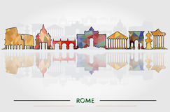Tourism Concept with Historic Buildings of Rome. Vector Illustration. Business Travel and Tourism Concept with Historic Buildings of Rome Stock Images
