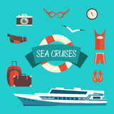 Tourism concept image sea vacation flat vector Royalty Free Stock Image