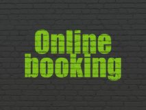 Tourism concept: Online Booking on wall background. Tourism concept: Painted green text Online Booking on Black Brick wall background Royalty Free Stock Photos