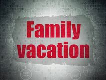 Tourism concept: Family Vacation on Digital Data Paper background. Tourism concept: Painted red text Family Vacation on Digital Data Paper background with Stock Photos