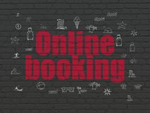 Tourism concept: Online Booking on wall background. Tourism concept: Painted red text Online Booking on Black Brick wall background with  Hand Drawn Vacation Stock Photos