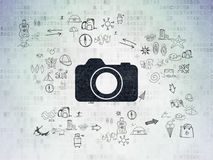Tourism concept: Photo Camera on Digital Paper Royalty Free Stock Photography