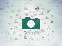 Tourism concept: Photo Camera on Digital Paper Royalty Free Stock Photos