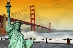 Tourism concept san francisco and statue liberty Royalty Free Stock Photo