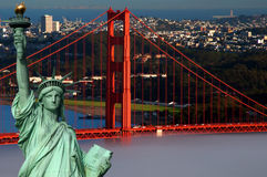 Tourism concept san francisco and statue liberty Royalty Free Stock Image