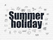 Tourism concept: Summer Holiday on wall background Stock Photos