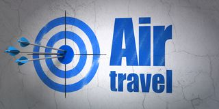 Tourism concept: target and Air Travel on wall background stock photography