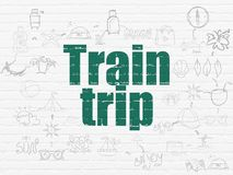 Tourism concept: Train Trip on wall background. Tourism concept: Painted green text Train Trip on White Brick wall background with Scheme Of Hand Drawn Vacation Stock Photography