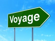 Tourism concept: Voyage on road sign background Stock Photo