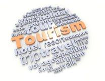Tourism. Crossword tourism 3d concept design Stock Images