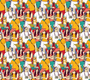 Tourism crowd people color seamless pattern. Royalty Free Stock Image